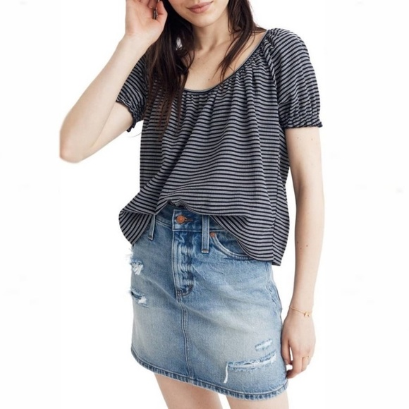 Texture & Thread Madewell Peasant Top in Stripe
